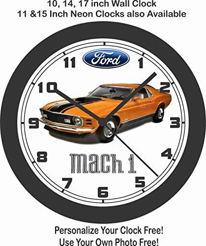 - Jim's Classic Clocks 1970 Ford Mustang MACH 1 Grabber Orange Wall Clock-Free USA Ship-Choose 1 of 2