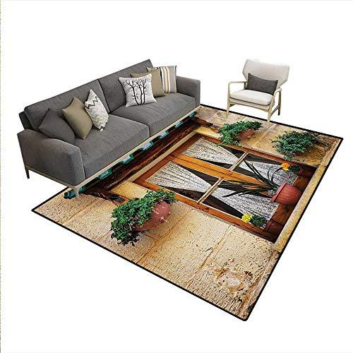 "Price comparison product image Carpet, Basket Flowers Historic Building Window Classic Lace Curtain Inside Image, Rug Kid Carpet, Beige Green, 6'6"" x10'"