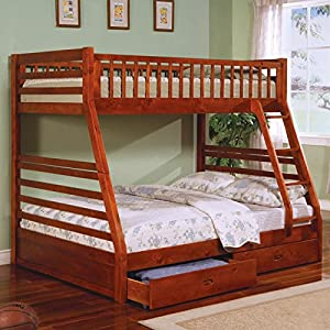 Amazon Twin Full Size Bunk Bed with Storage Drawers in Cherry