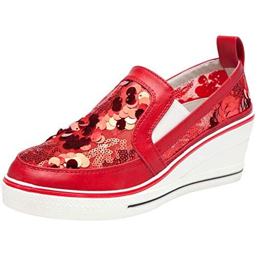 Mode Rouge Chaussure Paillette Compensée Basket Confort Sneakers Wealsex Grande Femme Mesh Décontracté Taille 6ax5HSxqw