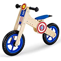 Rovo Kids Wooden Balance Bike, Natural and Blue