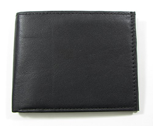 Durable Large Men's Wallet Black Genuine Leather Bifold Twelve Credit Card Slots (Para Gorras Damas)