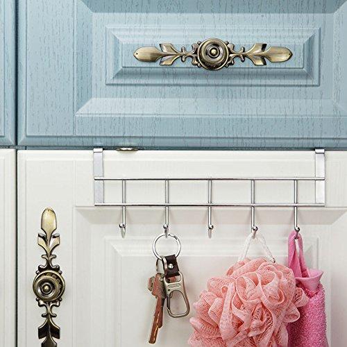 Ruiling 2 Pack Over Cabinet Door Hooks Hanger 5 Hooks Organizer
