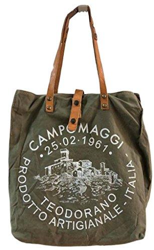 Campomaggi Shopper Large C1262ML-TEVL / Militare+St.Biance NEU Längere Henkel 2018