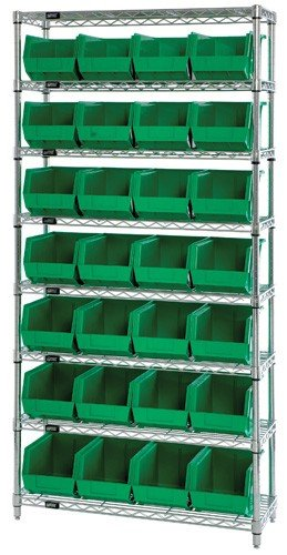 (Quantum Storage Systems WR8-239GN 8-Tier Complete Wire Shelving System with 28 QUS239 Green Giant Open Hopper Bins, Chrome Finish, 12