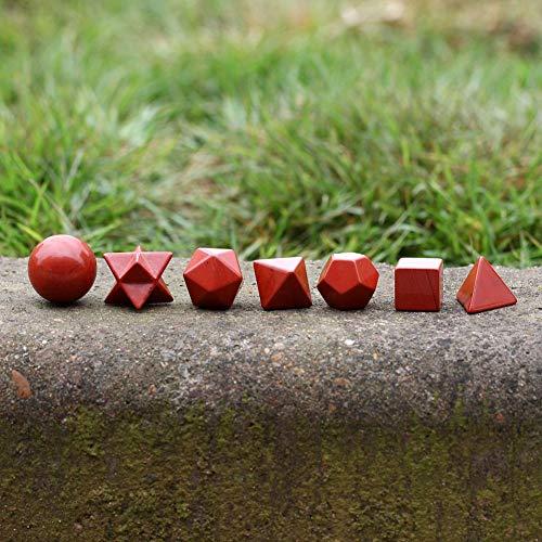 (Set Red - Sacred Geometry Symbols Engraved Red Jasper Stone Reiki Healing Crystal Holistic Health Balancing - Lipstick Curtains Kitchen Carpet Jewelry Glow Knives Door Reiki Crystal Bull)