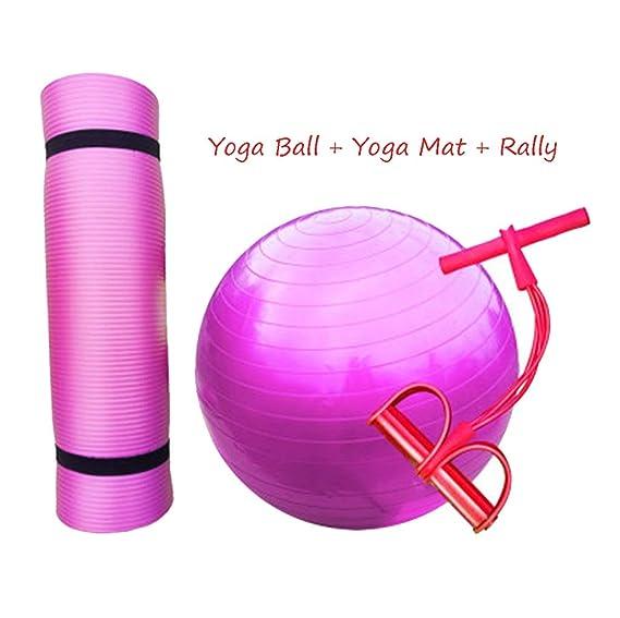 LJBOZ Yoga Ball + Yoga Mat + Rally, Pelota de Gimnasia para niños ...