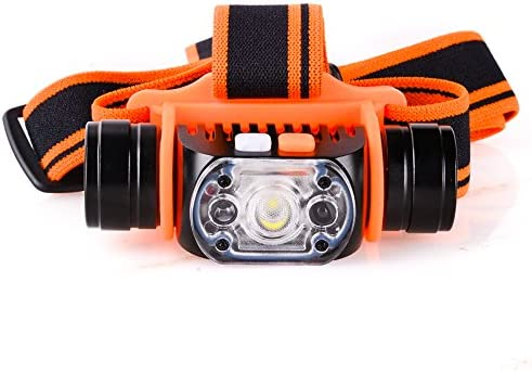 MCCC LED 1×18650 Rechargeable Headlamp with Motion Sensor, 4 Lighting Modes, Inductive Switch Wave Hand Headlight, for Camping, Running, Hiking,Reading and Automotive, USB Cable Battery Included