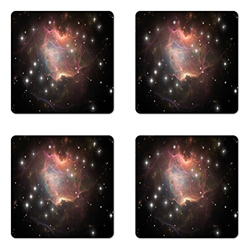 Ambesonne Constellation Coaster Set of Four, Deep Down in Outer Space Complex Supernova Phenomenal Dynamic Universe Image, Square Hardboard Gloss Coasters for Drinks, ()