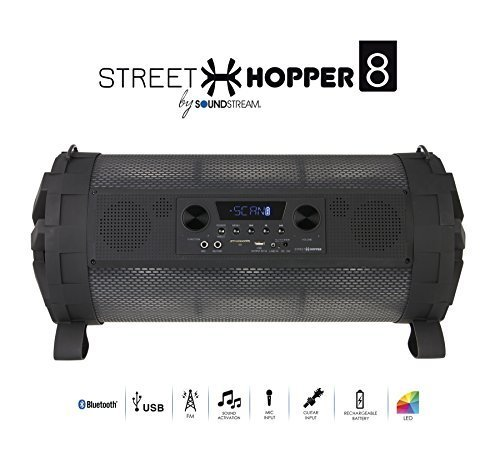 Street Hopper 8 - Portable Bluetooth Boombox Speaker with LED Lights