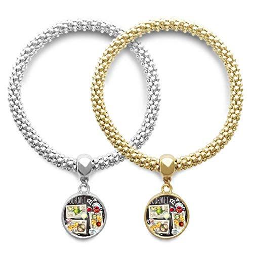 DIYthinker Gourmet Bar Steak Soup Lemonade Lover Couple Bracelet Pendant Jewelry Chain