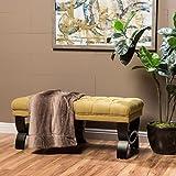 "Christopher Knight Home 299599 Living Reddington Light Green Tufted Fabric Ottoman Bench, 17.25""D x 41.00""W x 16.75""H,"