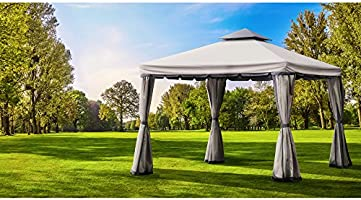 Roma Luxury JArdín Gazebo 3 m x 3 m), color gris: Amazon.es: Jardín