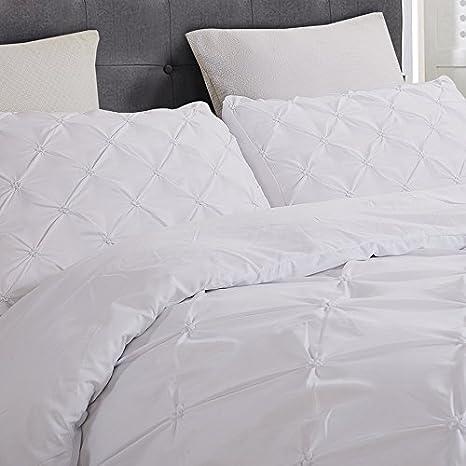 White Pintuck Pinch Pleat Pattern Vaulia Soft Microfiber Duvet Cover Sets 1 Duvet Cover, 2 Pillow Shams Queen Size 3-Piece Set