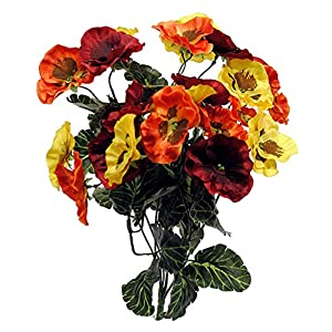 "Liberty Artificial Pansy Flower Bush - 16"" - Red, Orange & Yellow Flowers 10"
