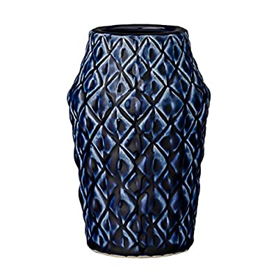 Bloomingville Navy Ceramic Vase with Textured Diamond Design - Colors: Navy Materials: ceramic Measurements: 3.75L x 6H x 3.75W - vases, kitchen-dining-room-decor, kitchen-dining-room - 51d%2BxtNq1dL. SS400  -