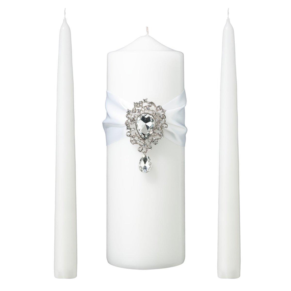 Lillian Rose AZ100001 W Jeweled Unity Candle Wedding Ceremony Set, White