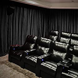 "Velvet Blackout Lined Home Movie Theater Curtain Drapes Panel, Pinch Pleated 84W x 108""L (1 Panel) For Stage Event Auditorium, BLACK"