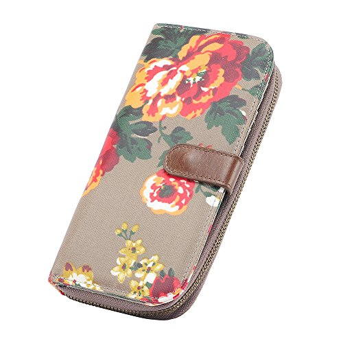 Large Capacity Zip Around Floral Print Canvas Clutch Wallet Organizer With Zipper Phone Pocket For Ladies (Canvas Floral Print)