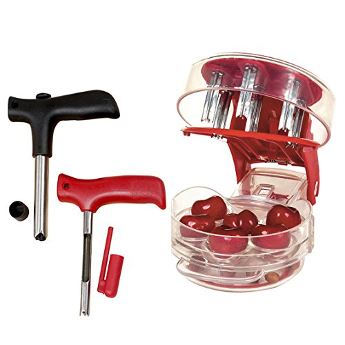(NewFerU Cherry Pitter Machine Pit Remover for 6 Cherries,Olives,Plums with Young Coconut Opener Punch Tap Knife Fruit Corer Set Core Seed Removal Tool for Apple,Pear,Jujube (Food Extractor Kit))