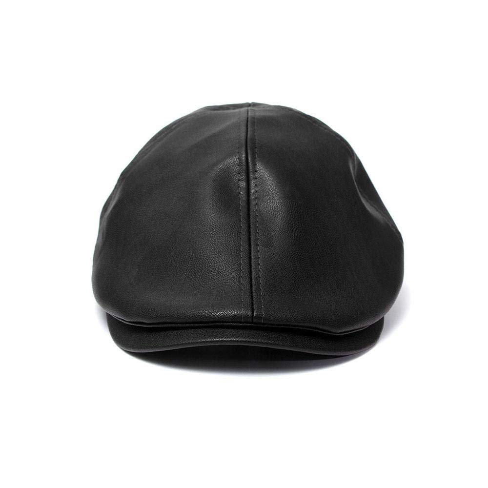 Pawaca Lady French Beret Beret,Beanie Winter Hat,Vintage Leather British Wind Adjustable Hat for Men Womens Hat Cap,Soft Lambskin Leather Flat Cap,Driving Winter Summer Ivy Hat,Various Seasons