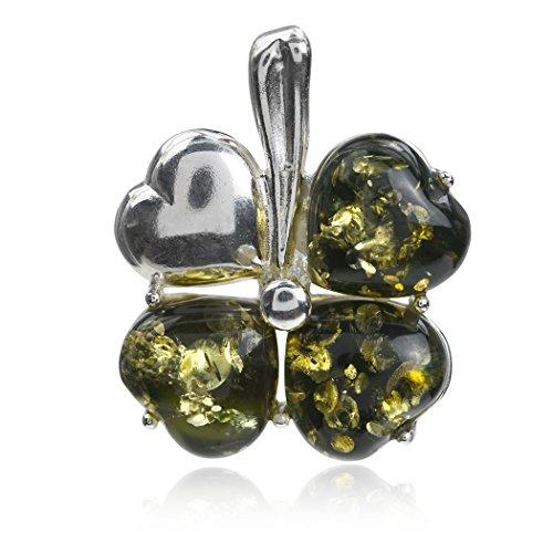 ambra con in verde trifoglio Pendente argento t6fwqxx