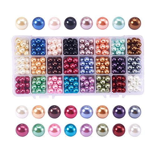 PandaHall Elite About 360 Pcs 10mm Tiny Satin Luster Glass Pearl Bead Round Loose Spacers Beads 24 Colors for Jewelry Making