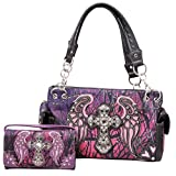 Western Camo Camouflage Rhinestone Cross Wings Concealed Carry Handbag and Wallet (Purple)