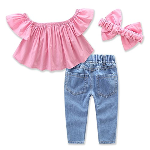 4e6574ef06ab 1-7Yrs Kid Baby Girls Ruffle Tops + Big Hole Jeans Cool Girl Clothes 2pcs