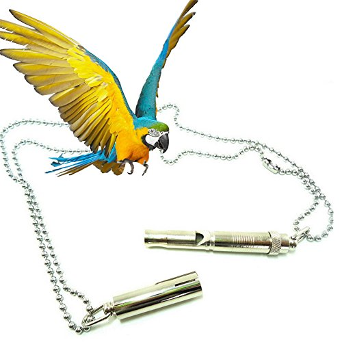 Hestio Parrot Whistle Ultrasonic Wave Chain Training Bird Toys Parakeet Budgie New - Bird Training Whistle