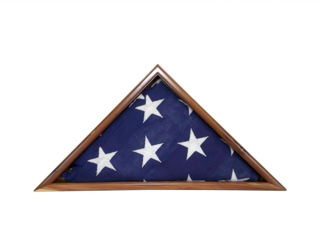 Aromatic Cedar Flag Display Case for 5 x 9.5' Vet Memorial Burial Flag, USA Made by Master Craftsman