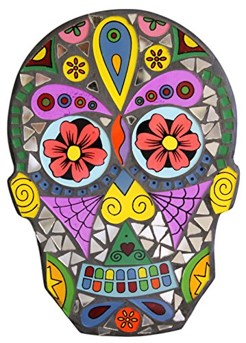 9 Inch Day of the Dead Sugar Skull Glass and Mirror Mosaic Wall Plaque (C (Flowers))