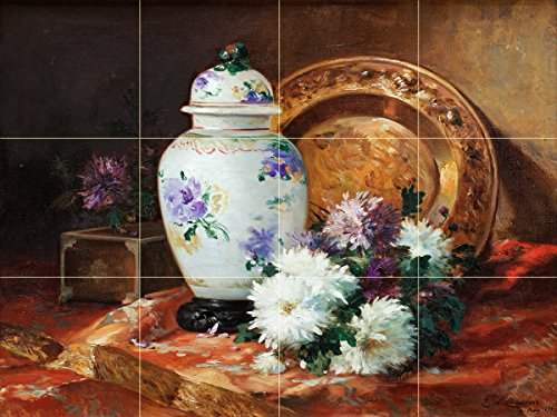 - Tile Mural Still Life Flowers Aster vase Dish by Eugene Henri Cauchois Kitchen Bathroom Shower Wall Backsplash Splashback 4x3 4.25