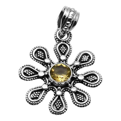 - Silver Palace Sterling Silver Handmade Citrine Pendant For Womens And Girls