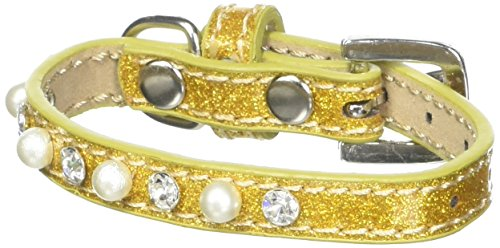Mirage Pet Products Pearl and Jewel Ice Cream Collar, 8-Inch, Gold