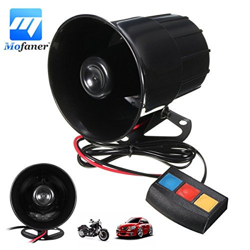 CALAP-STORE - 3 Sounds 30W Motorcycle Car Alarm Horn Loud PA System Horn Amplifier Speaker Warning Alarm For Car Motorcycle ATV