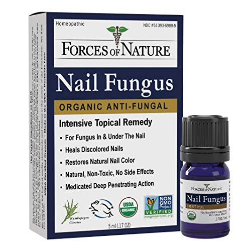 Forces of Nature -Natural, Organic Nail Fungus Treatment (5ml) Non GMO, No Harmful Chemicals, Nontoxic -Fight Damaged, Cracked, Brittle, Discolored Yellow and black Toenails, Fingernails