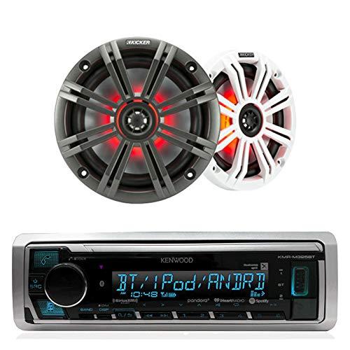 (Kenwood In Dash Car Audio Bluetooth Stereo Aux USB Siriusxm Digital Receiver Bundle Combo With Kicker KM654LCW 6.5 Led Marine Speakers)