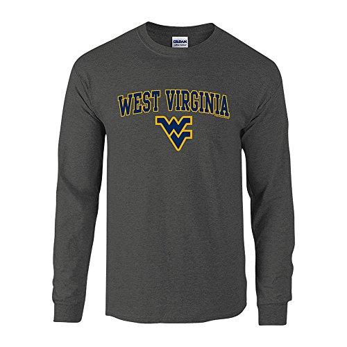 (Elite Fan Shop WVU West Virginia Mountaineers Long Sleeve Tshirt Arch Charcoal - XXL)