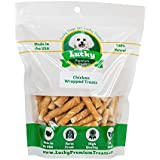 Lucky Premium Treats Chicken Wrapped Rawhide Dog Chews by, Gluten Free Treats for Toy Size Dogs, 200 Chews