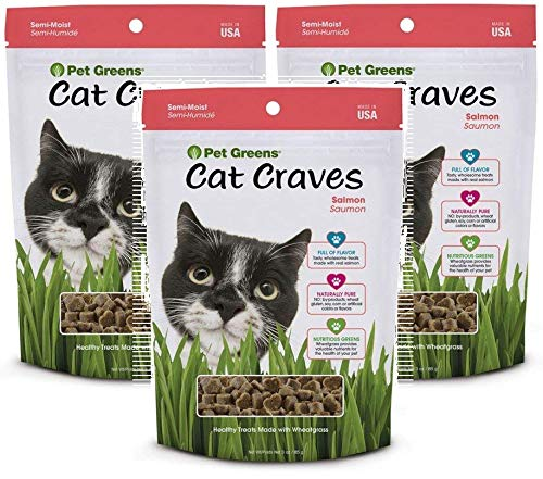 Pet Greens 3 Pack of Semi-Moist Cat Craves Salmon Flavored Treats, 3 Ounces Per Pack