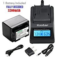 Kastar Fast Charger + Battery (DECODED) (1-Pack) for Canon BP-727 and VIXIA HF M50, HF M52, HF M500, HF R30, HF R32, HF R40, HF R42, HF R50, HF R52, HF R60, HF R62, HF R300, HF R400, HF R500, HF R600