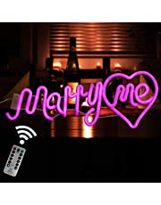 Pink Marry Me LED Marquee Word Neon Signs with Remote Control Light up Battery Operated & USB Supply Romantic Marriage Proposal Sign for Wedding Party Decor
