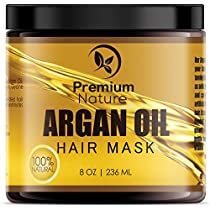 Argan Oil Hair Mask Deep Conditioner - Sulfate Free Conditioning Hair Treatment for Damaged & Dry Hair Repair & Growth All Natural Gentle for Curly & Color Treated Hair Hydrates Softens Strengthens