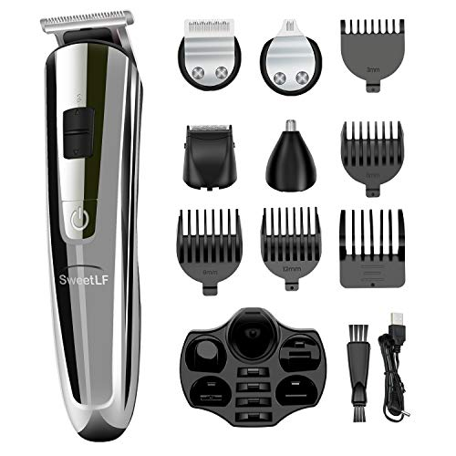 Hair Clippers Men, Sweetlf Hair Beard Trimmer Electric Rechargeable Hair Shaver Detail Trimmer 5 in 1 Hair Grooming Haircut Kit Cordless Precision Haircutting for Men and Family Use