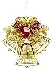 قطعة ديكور مفرغة شكل جرس وسانتا كلوز بفيونكة للكريسماس