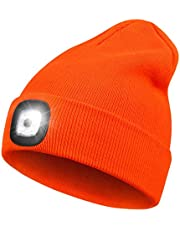 LED Beanie Hat with Light,Unisex 4 LED USB Rechargeable Headlamp Knitted Cap Flashlight Head Lights Hat Women Men Gift for Hiking, Biking, Camping,Walking,Running