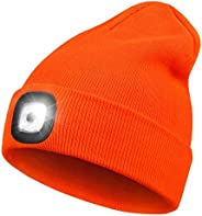 LED Beanie Hat with Light,Unisex 4 LED USB Rechargeable Headlamp Knitted Cap Flashlight Head Lights Hat Women