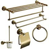 Lightinthebox Bath Accessory Set Antique 5 Piece Anodizing Aluminum  Hardware Set With Toilet Brush Holder, Bathroom Shelf, Toilet Paper Holder,  Towel Ring, ...