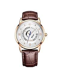 Sheli Casual White Face Brown Leather Watch Perpetual Calendar on Sale